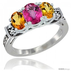 14K White Gold Natural Pink Topaz & Citrine Ring 3-Stone Oval with Diamond Accent