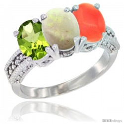 10K White Gold Natural Peridot, Opal & Coral Ring 3-Stone Oval 7x5 mm Diamond Accent