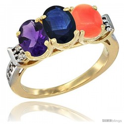 10K Yellow Gold Natural Amethyst, Blue Sapphire & Coral Ring 3-Stone Oval 7x5 mm Diamond Accent