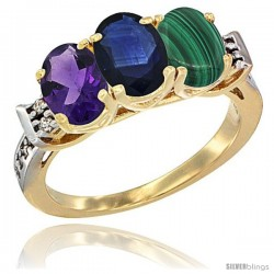 10K Yellow Gold Natural Amethyst, Blue Sapphire & Malachite Ring 3-Stone Oval 7x5 mm Diamond Accent