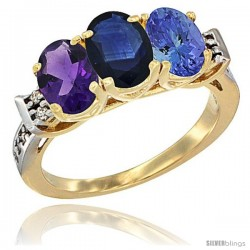 10K Yellow Gold Natural Amethyst, Blue Sapphire & Tanzanite Ring 3-Stone Oval 7x5 mm Diamond Accent
