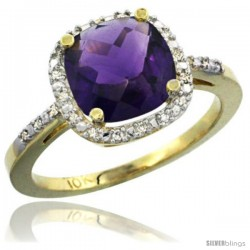 10k Yellow Gold Ladies Natural Amethyst Ring Cushion-cut 3.8 ct. 8x8 Stone