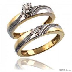 Gold Plated Sterling Silver Ladies 2-Piece Diamond Engagement Wedding Ring Set 5/32 in wide