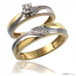 Gold Plated Sterling Silver 2-Piece Diamond Wedding Engagement Ring Set for Him & Her 4mm & 5mm wide -Style Agy151em