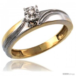 Gold Plated Sterling Silver Diamond Engagement Ring 5/32 in wide -Style Agy151er