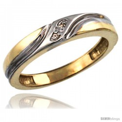 Gold Plated Sterling Silver Ladies Diamond Wedding Ring 5/32 in wide