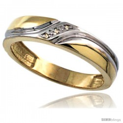 Gold Plated Sterling Silver Mens Diamond Wedding Ring 3/16 in wide