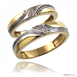 Gold Plated Sterling Silver Diamond 2 Piece Wedding Ring Set His 5mm & Hers 4mm -Style Agy151w2