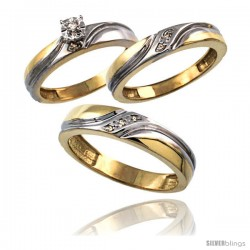Gold Plated Sterling Silver Diamond Trio Wedding Ring Set His 5mm & Hers 4mm 0.062 cttw Ladies 5-10 Men 8 to 14