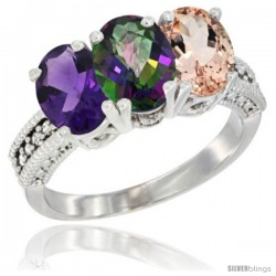14K White Gold Natural Amethyst, Mystic Topaz & Morganite Ring 3-Stone 7x5 mm Oval Diamond Accent