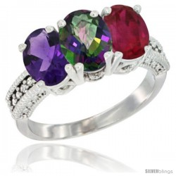 14K White Gold Natural Amethyst, Mystic Topaz & Ruby Ring 3-Stone 7x5 mm Oval Diamond Accent