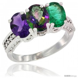14K White Gold Natural Amethyst, Mystic Topaz & Emerald Ring 3-Stone 7x5 mm Oval Diamond Accent