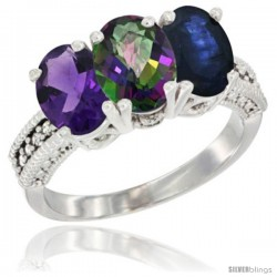 14K White Gold Natural Amethyst, Mystic Topaz & Blue Sapphire Ring 3-Stone 7x5 mm Oval Diamond Accent