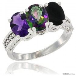 14K White Gold Natural Amethyst, Mystic Topaz & Black Onyx Ring 3-Stone 7x5 mm Oval Diamond Accent