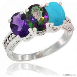 14K White Gold Natural Amethyst, Mystic Topaz & Turquoise Ring 3-Stone 7x5 mm Oval Diamond Accent