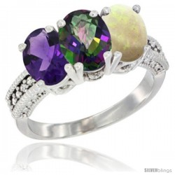 14K White Gold Natural Amethyst, Mystic Topaz & Opal Ring 3-Stone 7x5 mm Oval Diamond Accent