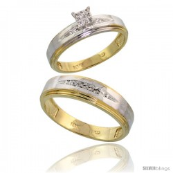 10k Yellow Gold Diamond Engagement Rings 2-Piece Set for Men and Women 0.09 cttw Brilliant Cut, 5mm & 6mm wide