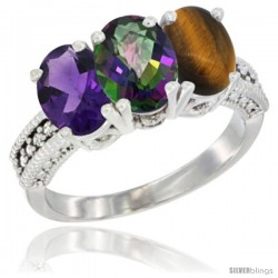 14K White Gold Natural Amethyst, Mystic Topaz & Tiger Eye Ring 3-Stone 7x5 mm Oval Diamond Accent