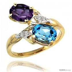 14k Gold ( 8x6 mm ) Double Stone Engagement Amethyst & Swiss Blue Topaz Ring w/ 0.04 Carat Brilliant Cut Diamonds & 2.34 Carats
