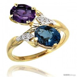 14k Gold ( 8x6 mm ) Double Stone Engagement Amethyst & London Blue Topaz Ring w/ 0.04 Carat Brilliant Cut Diamonds & 2.34