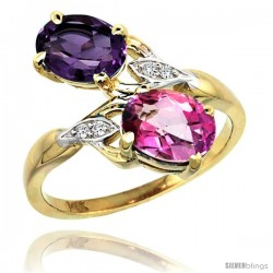 14k Gold ( 8x6 mm ) Double Stone Engagement Amethyst & Pink Topaz Ring w/ 0.04 Carat Brilliant Cut Diamonds & 2.34 Carats Oval