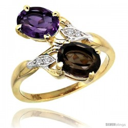 14k Gold ( 8x6 mm ) Double Stone Engagement Amethyst & Smoky Topaz Ring w/ 0.04 Carat Brilliant Cut Diamonds & 2.34 Carats Oval