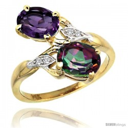 14k Gold ( 8x6 mm ) Double Stone Engagement Amethyst & Mystic Topaz Ring w/ 0.04 Carat Brilliant Cut Diamonds & 2.34 Carats