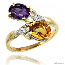 14k Gold ( 8x6 mm ) Double Stone Engagement Amethyst & Citrine Ring w/ 0.04 Carat Brilliant Cut Diamonds & 2.34 Carats Oval Cut