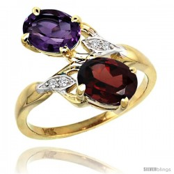 14k Gold ( 8x6 mm ) Double Stone Engagement Amethyst & Garnet Ring w/ 0.04 Carat Brilliant Cut Diamonds & 2.34 Carats Oval Cut