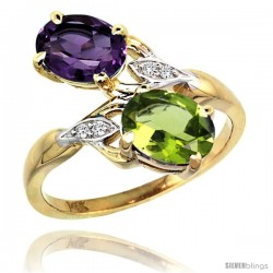 14k Gold ( 8x6 mm ) Double Stone Engagement Amethyst & Peridot Ring w/ 0.04 Carat Brilliant Cut Diamonds & 2.34 Carats Oval Cut