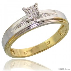 10k Yellow Gold Diamond Engagement Ring 0.06 cttw Brilliant Cut, 3/16 in wide -Style 10y013er