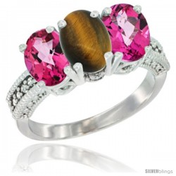 10K White Gold Natural Tiger Eye & Pink Topaz Sides Ring 3-Stone Oval 7x5 mm Diamond Accent