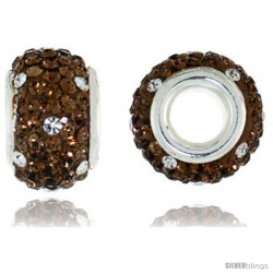 Sterling Silver Crystal Bead Charm White & Smoked Topaz Color w/ Swarovski Elements, 13 mm