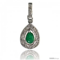 "14k White Gold 1 1/16"" (27mm) tall Pear-shaped Diamond Pendant, w/ 0.30 Carat Brilliant Cut Diamonds & 1.07 Carats Pear Cut"