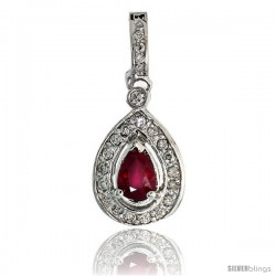 "14k White Gold 1 1/16"" (27mm) tall Pear-shaped Diamond Pendant, w/ 0.30 Carat Brilliant Cut Diamonds & 0.73 Carat Pear Cut"