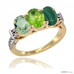 10K Yellow Gold Natural Green Amethyst, Peridot & Malachite Ring 3-Stone Oval 7x5 mm Diamond Accent
