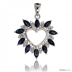 "14k White Gold 15/16"" (24mm) tall Diamond Heart Pendant, w/ 1.25 Total Carat Weight Marquise Cut Blue Sapphire Stones"