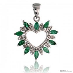 "14k White Gold 15/16"" (24mm) tall Diamond Heart Pendant, w/ 1.25 Total Carat Weight Marquise Cut Emerald Stones & Brilliant Cut"