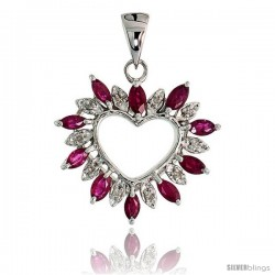"14k White Gold 15/16"" (24mm) tall Diamond Heart Pendant, w/ 1.25 Total Carat Weight Marquise Cut Ruby Stones & Brilliant Cut"