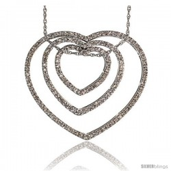 "14k White Gold 18"" Chain & 1"" (26mm) tall Triple Heart Diamond Pendant, w/ 0.65 Carat Brilliant Cut Diamonds"