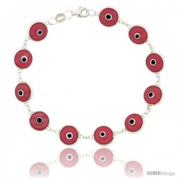 Sterling Silver Pink Color Evil Eye Bracelet, 7 in long