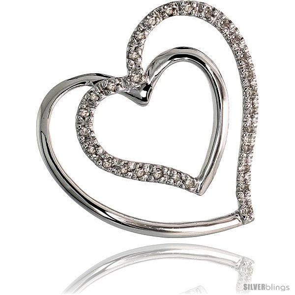14k white gold 1316 21mm tall double heart diamond pendant w undefined mozeypictures Choice Image
