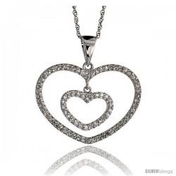 "14k White Gold 18"" Chain & 5/8"" (16mm) tall Double Heart Diamond Pendant, w/ 0.24 Carat Brilliant Cut Diamonds"