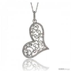 "14k White Gold 18"" Chain & 1 3/8"" (36mm) tall Filigree Heart Diamond Pendant, w/ 0.22 Carat Brilliant Cut Diamonds"