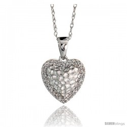 "14k White Gold 18"" Chain & 7/16"" (12mm) tall Hammered Finish Diamond Heart Pendant, w/ 0.10 Carat Brilliant Cut Diamonds"