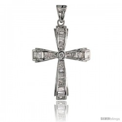 "14k White Gold 1 1/2"" (39mm) tall Diamond Cross Pendant, w/ 1.10 Carats Baguette & Brilliant Cut Diamonds"