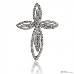 "14k White Gold 1 1/4"" (32mm) tall Diamond Cross Pendant, w/ 0.65 Carat Brilliant Cut Diamonds"