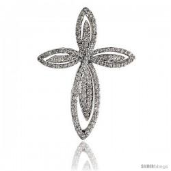 "14k White Gold 1 1/4"" (32mm) tall Diamond Cross Pendant, w/ 0.65 Carat Brilliant Cut Diamonds"