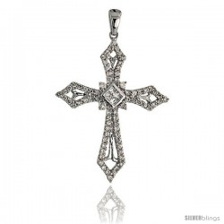 "14k White Gold 1 1/4"" (32mm) tall Diamond Cross Pendant, w/ 0.50 Carat Brilliant Cut & Invisible Set Diamonds"