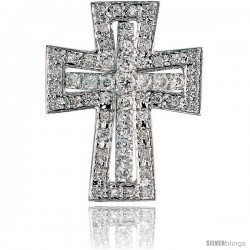 "14k White Gold 7/8"" (22mm) tall Diamond Maltese Cross Pendant Slide, w/ 0.57 Carat Brilliant Cut Diamonds"